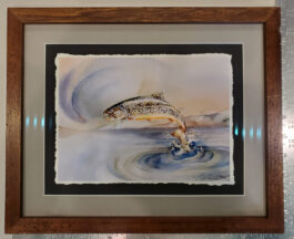 BROOKIE'S LEAP framed giclee at 12″ X 14″
